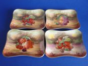 Set of 4 Royal Winton Hand Painted 'Fruit' Candy Dishes signed by Austin and Hayward c1935